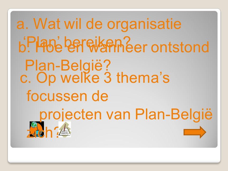 a. Wat wil de organisatie 'Plan' bereiken. b. Hoe en wanneer ontstond Plan-België.