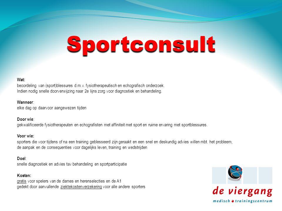 Sportconsult Wat: beoordeling van (sport)blessures d.m.v.