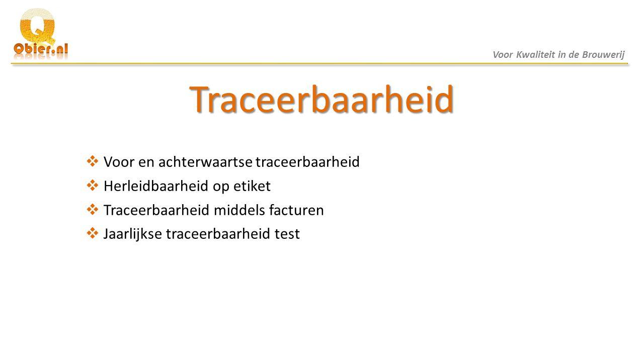 Traceerbaarheid  Voor en achterwaartse traceerbaarheid  Herleidbaarheid op etiket  Traceerbaarheid middels facturen  Jaarlijkse traceerbaarheid te