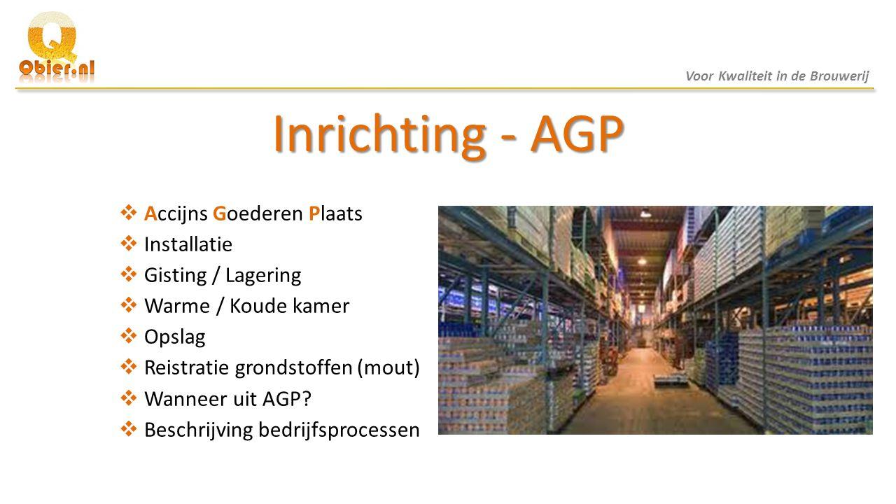 Inrichting - AGP  Accijns Goederen Plaats  Installatie  Gisting / Lagering  Warme / Koude kamer  Opslag  Reistratie grondstoffen (mout)  Wannee