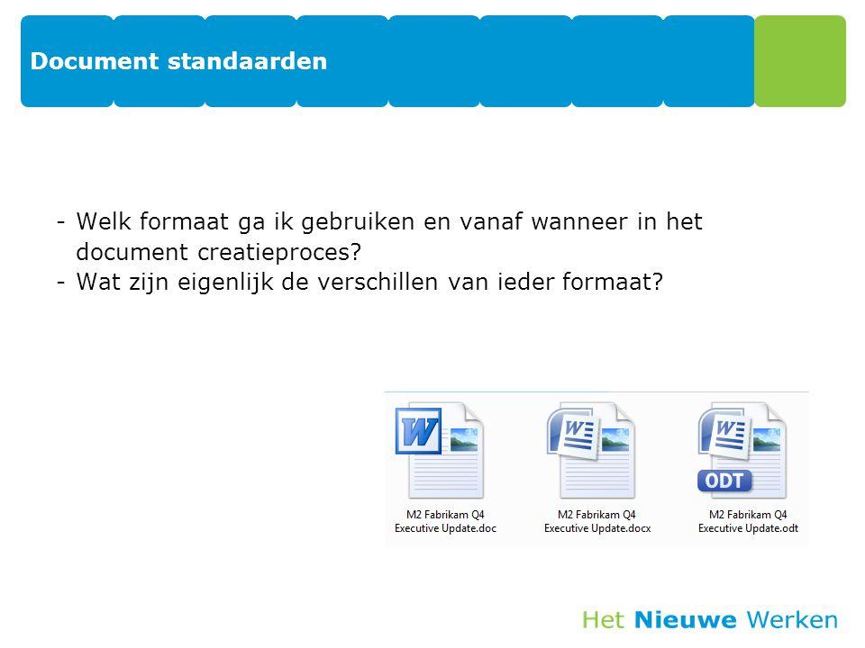 Document standaarden -Welk formaat ga ik gebruiken en vanaf wanneer in het document creatieproces? -Wat zijn eigenlijk de verschillen van ieder formaa