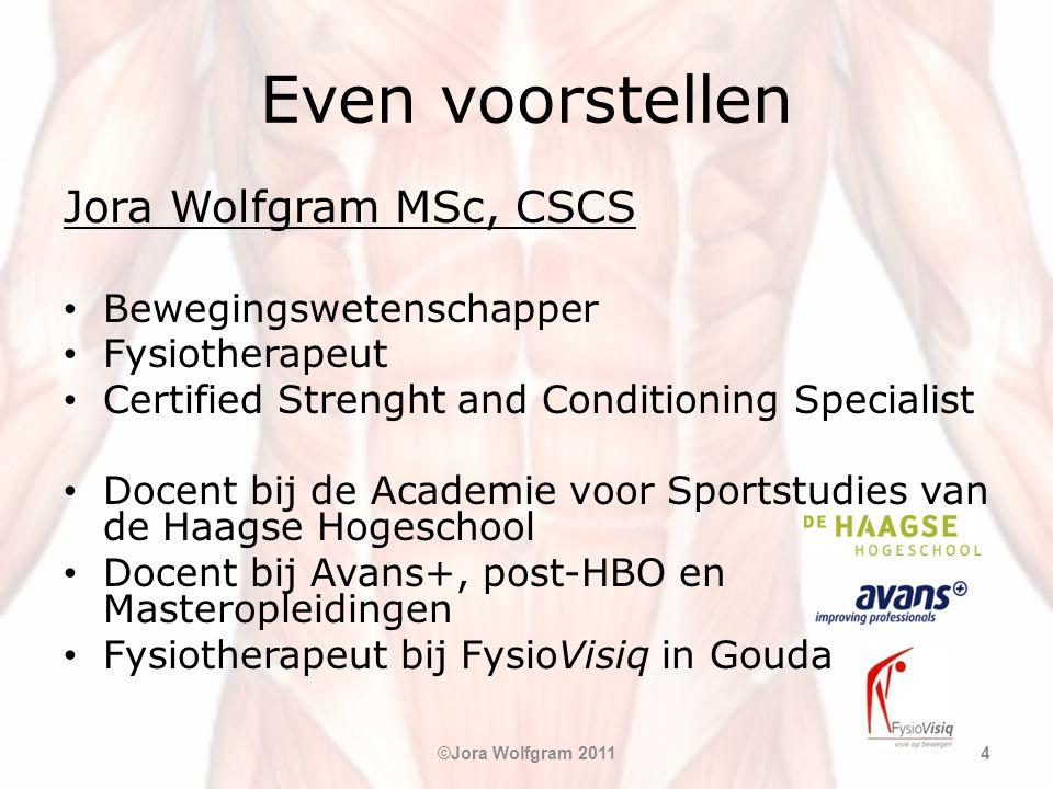 Even voorstellen Jora Wolfgram MSc, CSCS • Bewegingswetenschapper • Fysiotherapeut • Certified Strenght and Conditioning Specialist • Docent bij de Ac