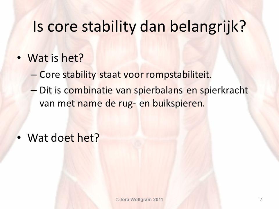 Is core stability dan belangrijk? • Wat is het? – Core stability staat voor rompstabiliteit. – Dit is combinatie van spierbalans en spierkracht van me