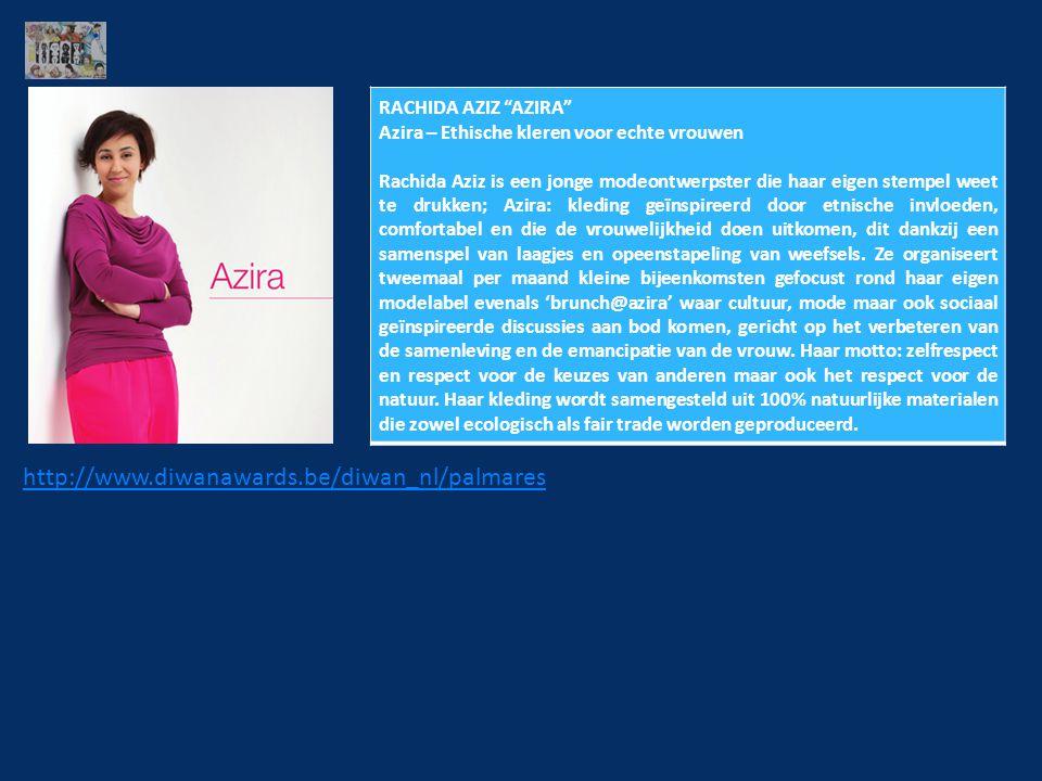 RACHIDA AZIZ AZIRA Azira – Ethische kleren voor echte vrouwen Rachida Aziz is een jonge modeontwerpster die haar eigen stempel weet te drukken; Azira: kleding geïnspireerd door etnische invloeden, comfortabel en die de vrouwelijkheid doen uitkomen, dit dankzij een samenspel van laagjes en opeenstapeling van weefsels.