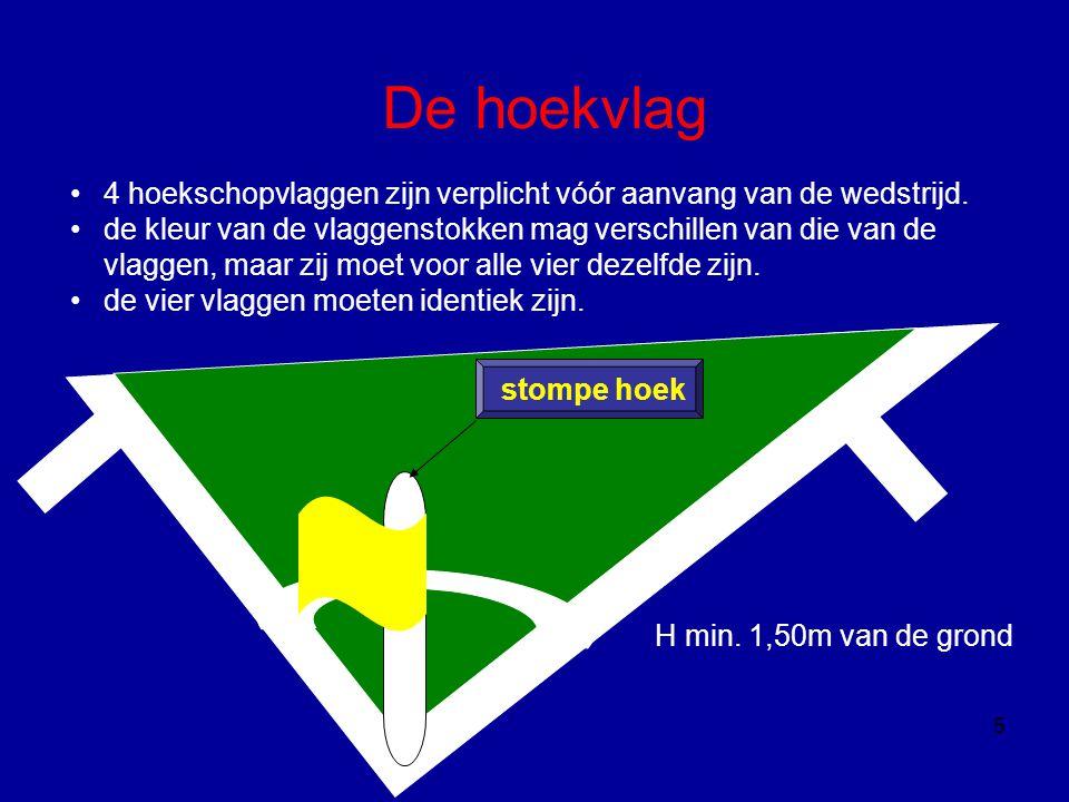 De hoekvlag 5 •4 hoekschopvlaggen zijn verplicht vóór aanvang van de wedstrijd. •de kleur van de vlaggenstokken mag verschillen van die van de vlaggen