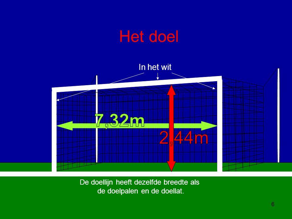 6 Het doel In het wit De doellijn heeft dezelfde breedte als de doelpalen en de doellat.