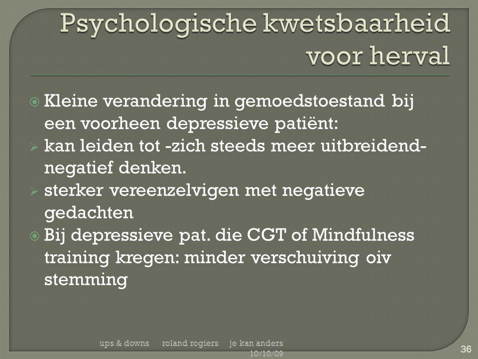  Kleine verandering in gemoedstoestand bij een voorheen depressieve patiënt:  kan leiden tot -zich steeds meer uitbreidend- negatief denken.  sterk