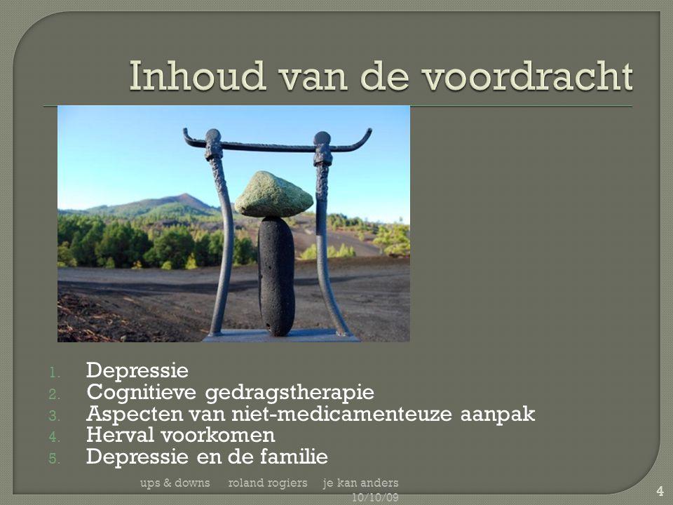 1. Depressie 2. Cognitieve gedragstherapie 3. Aspecten van niet-medicamenteuze aanpak 4. Herval voorkomen 5. Depressie en de familie ups & downs rolan