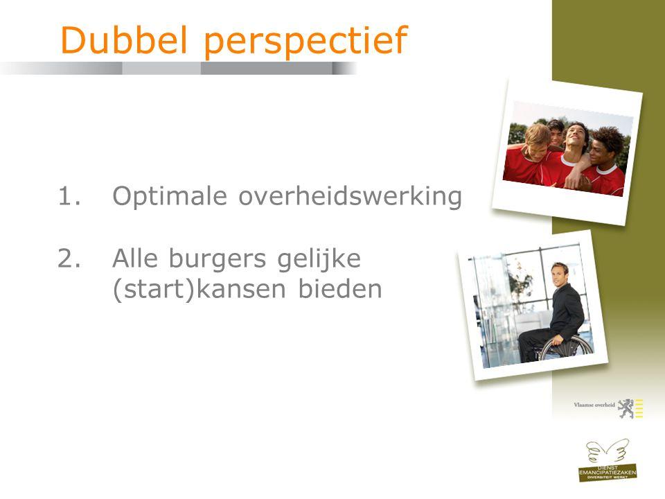 Dubbel perspectief 1.Optimale overheidswerking 2.Alle burgers gelijke (start)kansen bieden