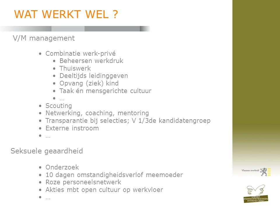 V/M management •Combinatie werk-privé •Beheersen werkdruk •Thuiswerk •Deeltijds leidinggeven •Opvang (ziek) kind •Taak én mensgerichte cultuur •… •Sco
