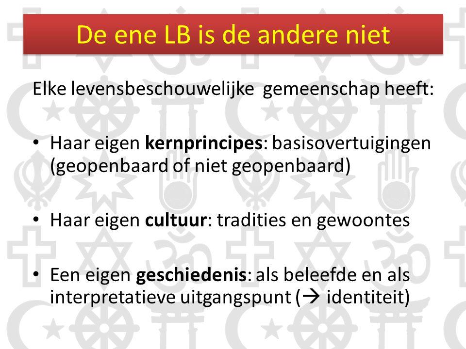 De ene LB is de andere niet Elke levensbeschouwelijke gemeenschap heeft: • Haar eigen kernprincipes: basisovertuigingen (geopenbaard of niet geopenbaa