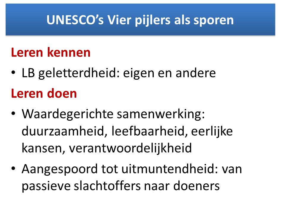 UNESCO's Vier pijlers als sporen Leren kennen • LB geletterdheid: eigen en andere Leren doen • Waardegerichte samenwerking: duurzaamheid, leefbaarheid, eerlijke kansen, verantwoordelijkheid • Aangespoord tot uitmuntendheid: van passieve slachtoffers naar doeners