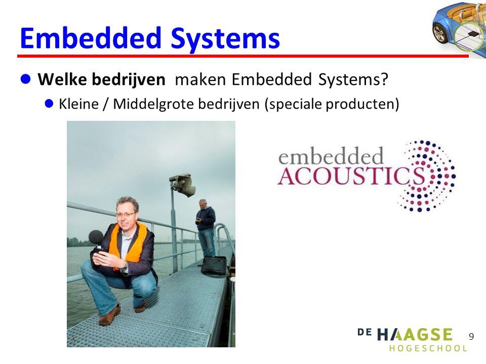 Embedded Systems  Welke bedrijven maken Embedded Systems?  Kleine / Middelgrote bedrijven (speciale producten) 9