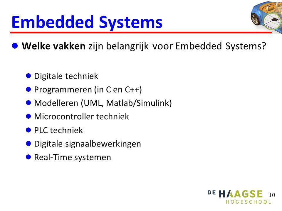 Embedded Systems  Welke vakken zijn belangrijk voor Embedded Systems?  Digitale techniek  Programmeren (in C en C++)  Modelleren (UML, Matlab/Simu