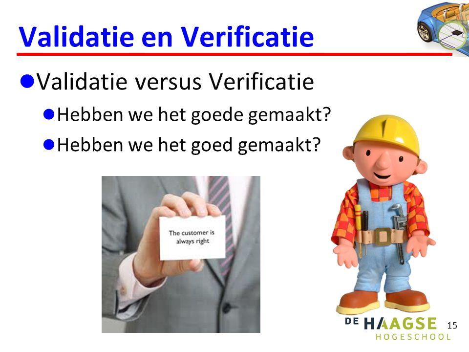 15 Validatie en Verificatie  Validatie versus Verificatie  Hebben we het goede gemaakt?  Hebben we het goed gemaakt?