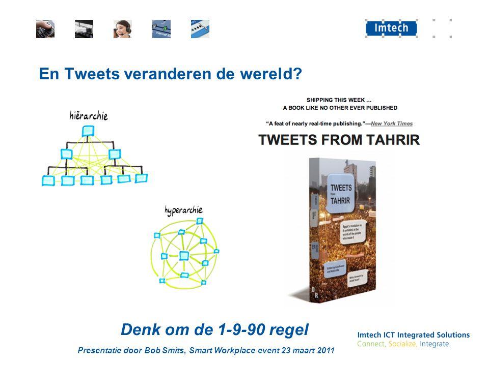 Presentatie door Bob Smits, Smart Workplace event 23 maart 2011 En Tweets veranderen de wereld? Denk om de 1-9-90 regel
