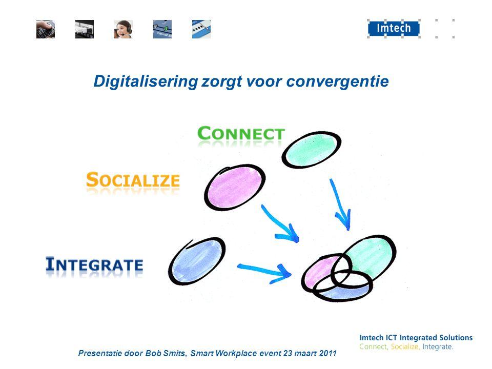 Presentatie door Bob Smits, Smart Workplace event 23 maart 2011 Digitalisering zorgt voor convergentie