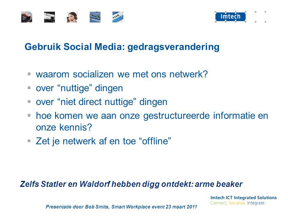 Presentatie door Bob Smits, Smart Workplace event 23 maart 2011 Gebruik Social Media: gedragsverandering  waarom socializen we met ons netwerk?  ove