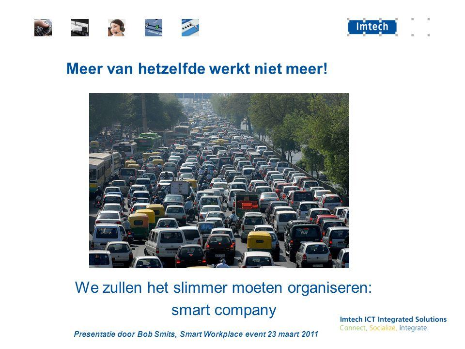 Presentatie door Bob Smits, Smart Workplace event 23 maart 2011 We zullen het slimmer moeten organiseren: smart company Meer van hetzelfde werkt niet
