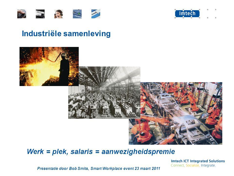 Presentatie door Bob Smits, Smart Workplace event 23 maart 2011 Industriële samenleving Werk = plek, salaris = aanwezigheidspremie