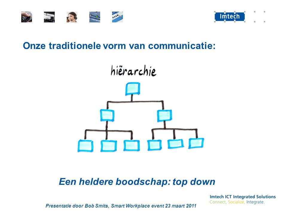 Presentatie door Bob Smits, Smart Workplace event 23 maart 2011 Onze traditionele vorm van communicatie: Een heldere boodschap: top down