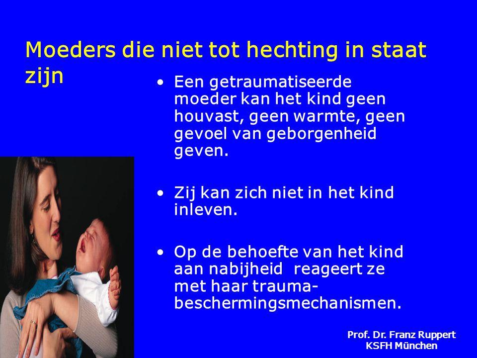 Prof. Dr. Franz Ruppert KSFH München Moeders die niet tot hechting in staat zijn •Een getraumatiseerde moeder kan het kind geen houvast, geen warmte,