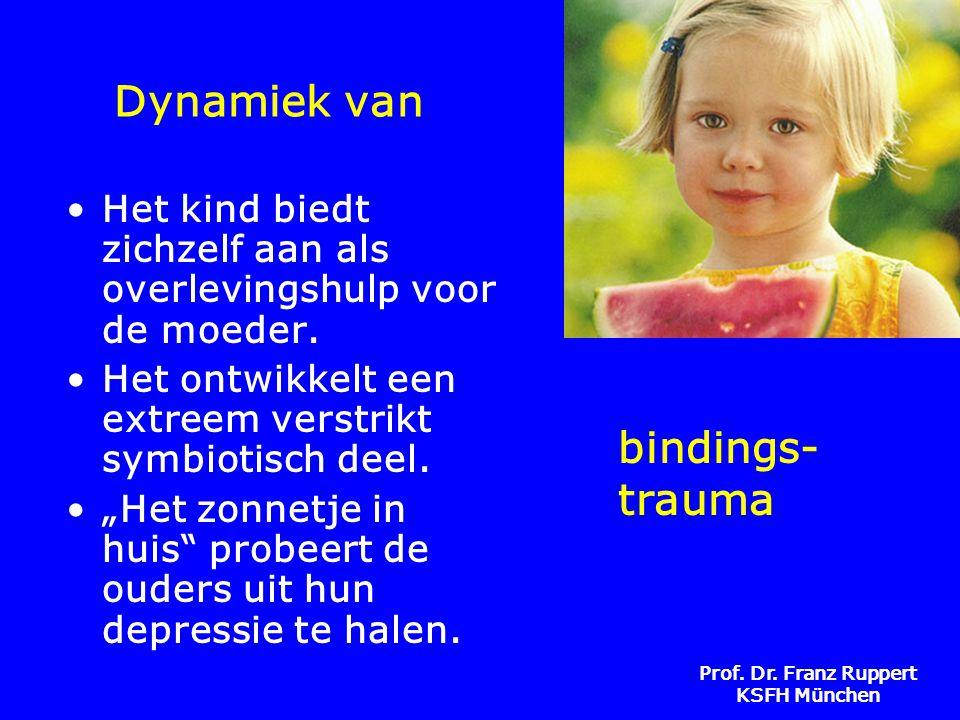 Prof. Dr. Franz Ruppert KSFH München Dynamiek van •Het kind biedt zichzelf aan als overlevingshulp voor de moeder. •Het ontwikkelt een extreem verstri
