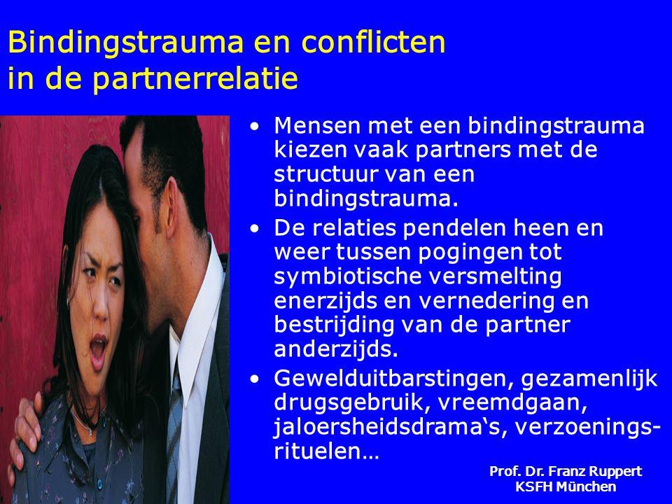 Prof. Dr. Franz Ruppert KSFH München Bindingstrauma en conflicten in de partnerrelatie •Mensen met een bindingstrauma kiezen vaak partners met de stru