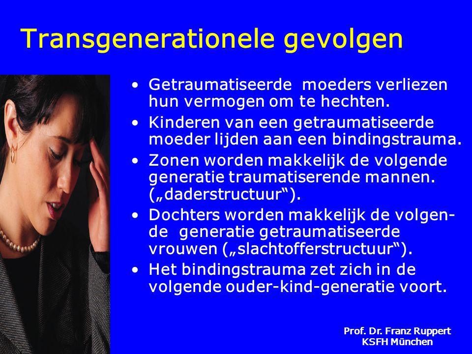 Prof. Dr. Franz Ruppert KSFH München Transgenerationele gevolgen •Getraumatiseerde moeders verliezen hun vermogen om te hechten. •Kinderen van een get