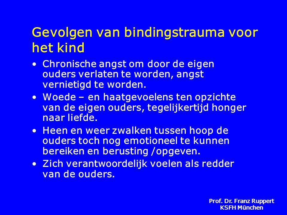 Prof. Dr. Franz Ruppert KSFH München Gevolgen van bindingstrauma voor het kind •Chronische angst om door de eigen ouders verlaten te worden, angst ver