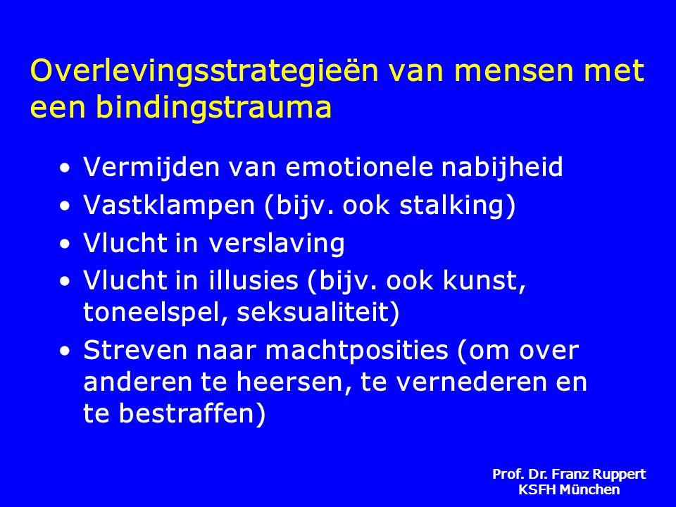 Prof. Dr. Franz Ruppert KSFH München Overlevingsstrategieën van mensen met een bindingstrauma •Vermijden van emotionele nabijheid •Vastklampen (bijv.