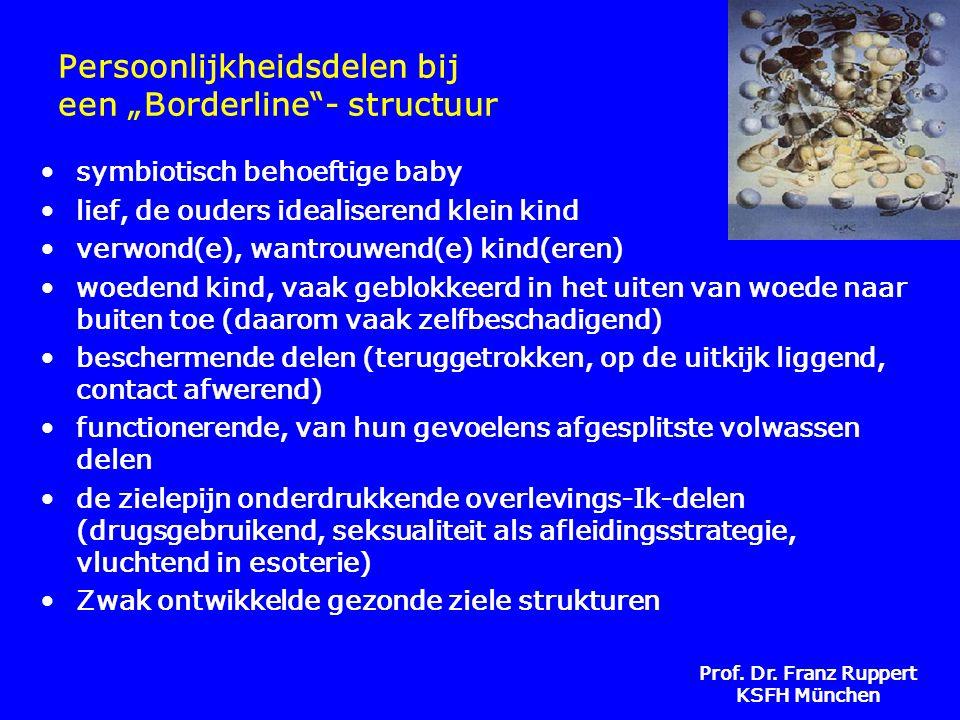 """Prof. Dr. Franz Ruppert KSFH München Persoonlijkheidsdelen bij een """"Borderline""""- structuur •symbiotisch behoeftige baby •lief, de ouders idealiserend"""