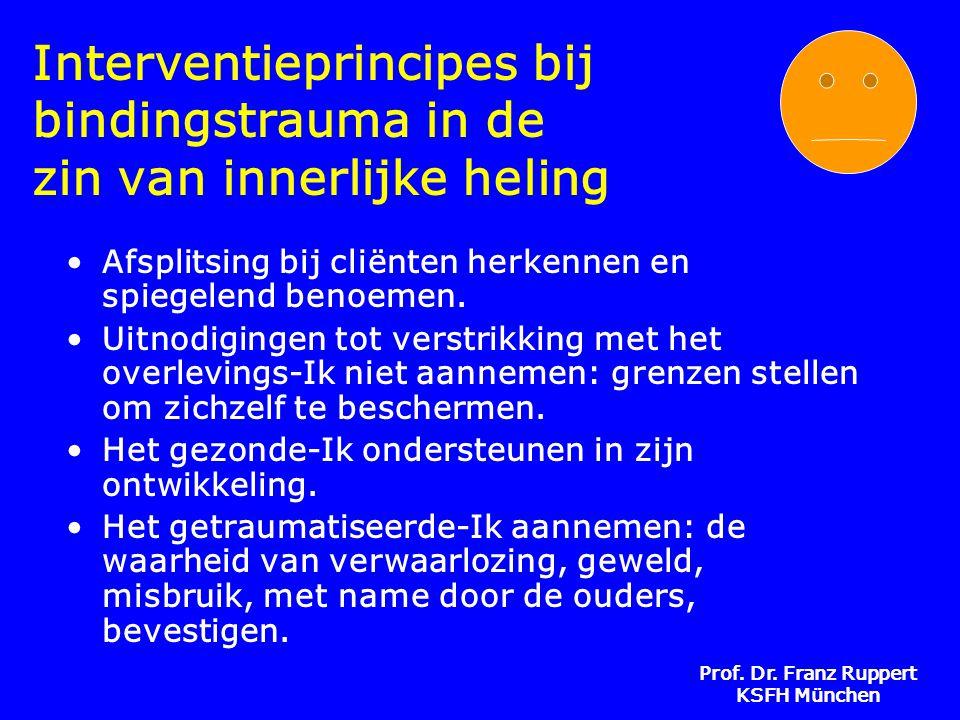 Prof. Dr. Franz Ruppert KSFH München Interventieprincipes bij bindingstrauma in de zin van innerlijke heling •Afsplitsing bij cliënten herkennen en sp