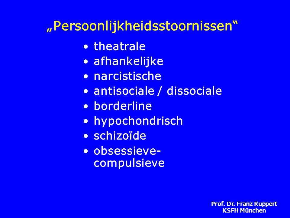 """Prof. Dr. Franz Ruppert KSFH München """"Persoonlijkheidsstoornissen"""" •theatrale •afhankelijke •narcistische •antisociale / dissociale •borderline •hypoc"""