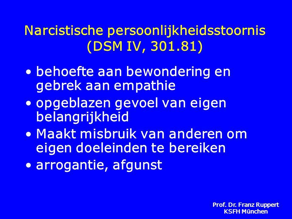 Prof. Dr. Franz Ruppert KSFH München Narcistische persoonlijkheidsstoornis (DSM IV, 301.81) •behoefte aan bewondering en gebrek aan empathie •opgeblaz