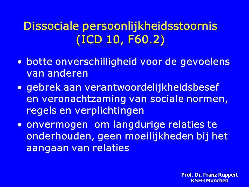 Prof. Dr. Franz Ruppert KSFH München Dissociale persoonlijkheidsstoornis (ICD 10, F60.2) •botte onverschilligheid voor de gevoelens van anderen •gebre