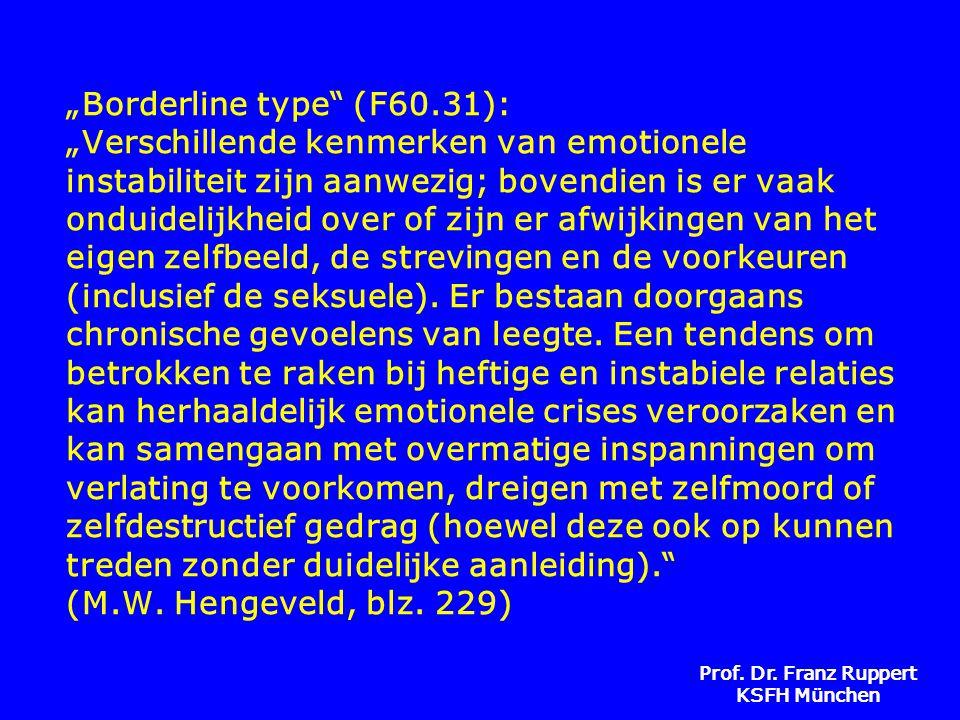 """Prof. Dr. Franz Ruppert KSFH München """"Borderline type"""" (F60.31): """"Verschillende kenmerken van emotionele instabiliteit zijn aanwezig; bovendien is er"""