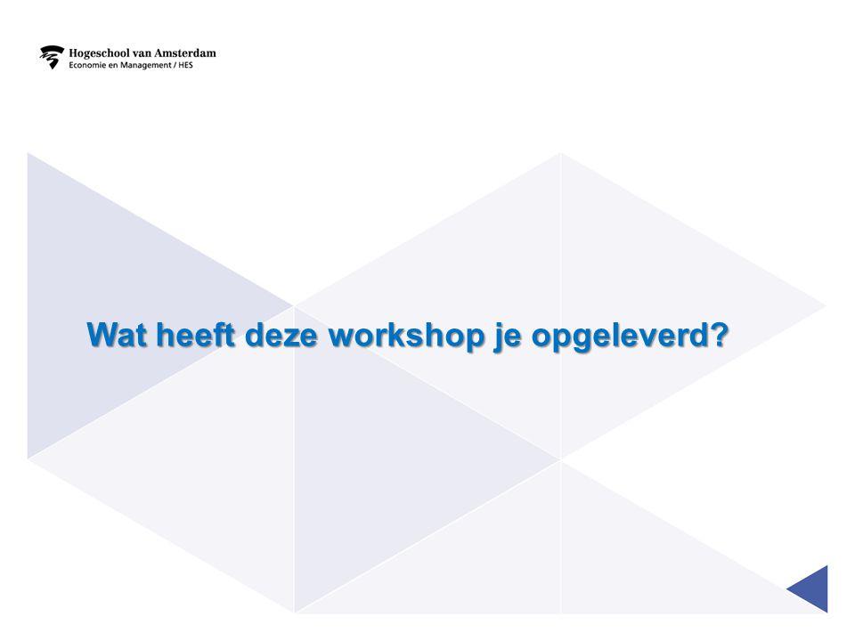 Wat heeft deze workshop je opgeleverd?