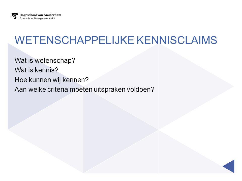 Positivistische kennisclaim •objectief Fenomenologische kennisclaim •beleving
