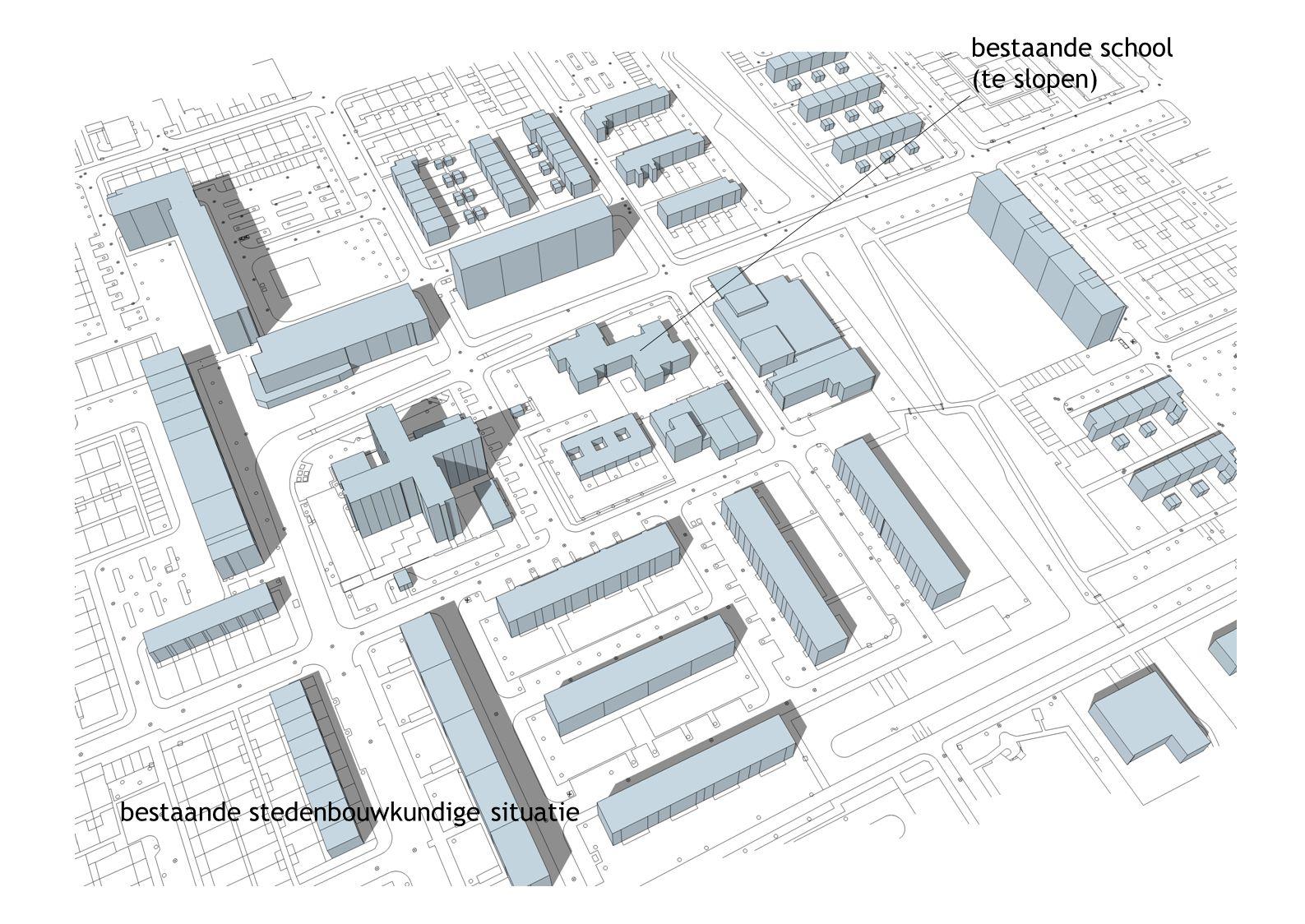 bestaande stedenbouwkundige situatie bestaande school (te slopen)
