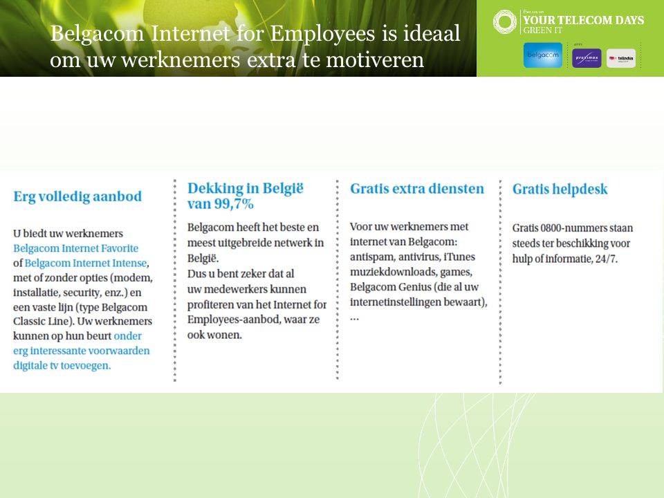Belgacom Internet for Employees is ideaal om uw werknemers extra te motiveren