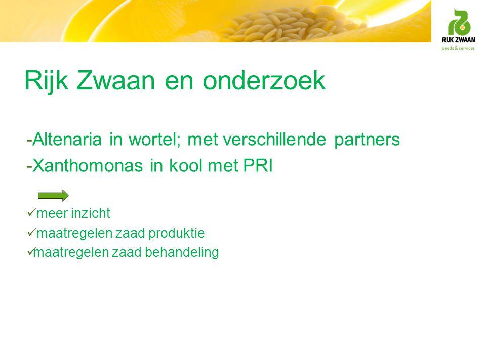 Rijk Zwaan en onderzoek -Altenaria in wortel; met verschillende partners -Xanthomonas in kool met PRI  meer inzicht  maatregelen zaad produktie  ma
