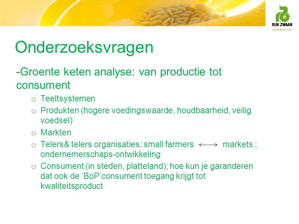 Onderzoeksvragen -Groente keten analyse: van productie tot consument o Teeltsystemen o Produkten (hogere voedingswaarde, houdbaarheid, veilig voedsel)