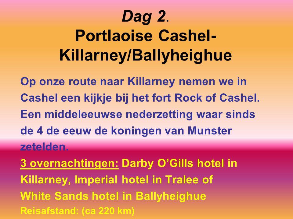 Dag 2. Portlaoise Cashel- Killarney/Ballyheighue Op onze route naar Killarney nemen we in Cashel een kijkje bij het fort Rock of Cashel. Een middeleeu