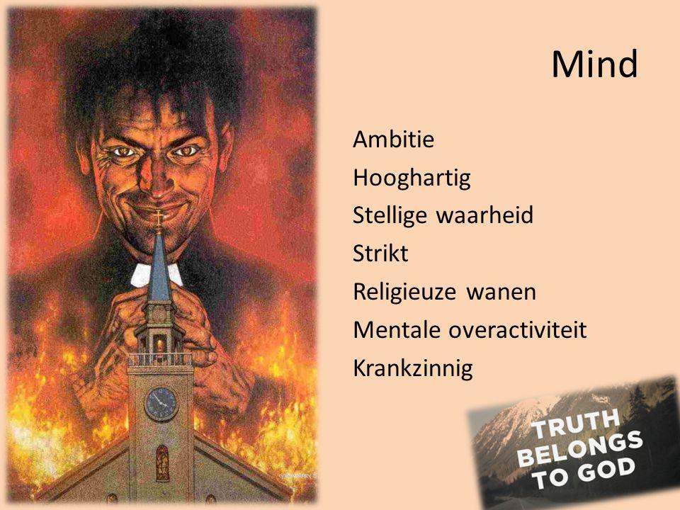 Mind Ambitie Hooghartig Stellige waarheid Strikt Religieuze wanen Mentale overactiviteit Krankzinnig