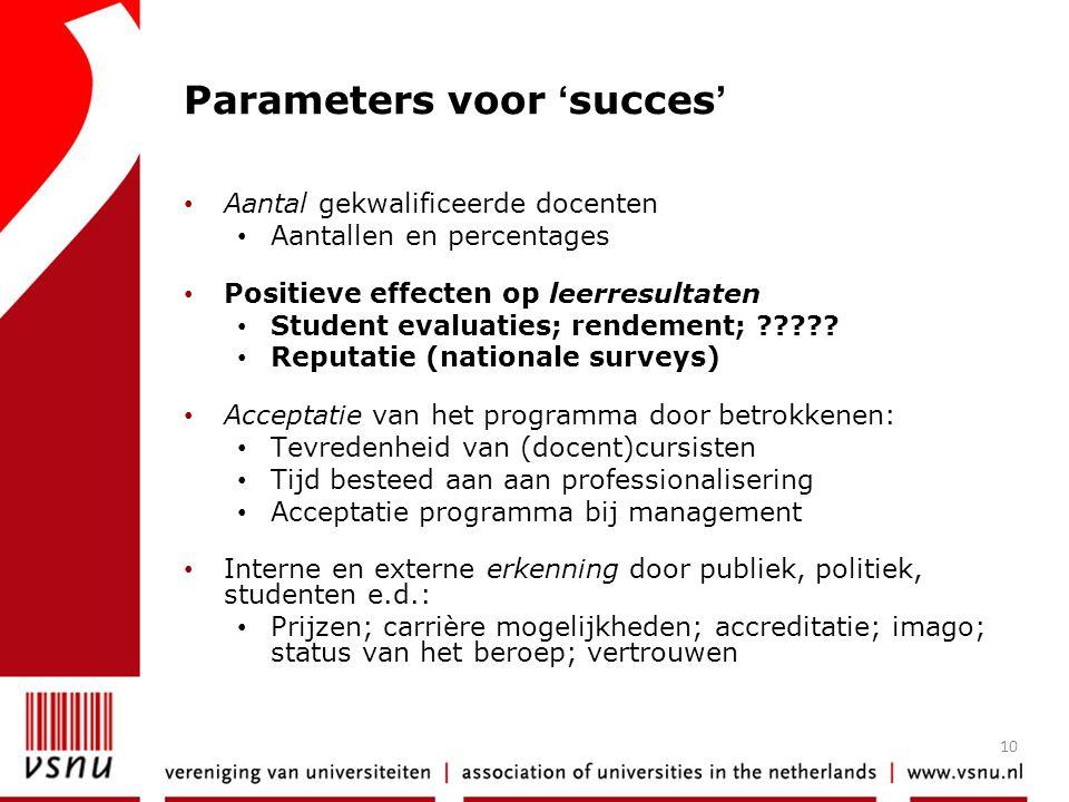 10 Parameters voor 'succes' • Aantal gekwalificeerde docenten • Aantallen en percentages • Positieve effecten op leerresultaten • Student evaluaties;