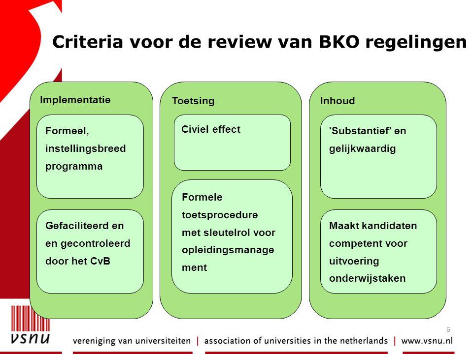 6 Implementatie Toetsing Inhoud Criteria voor de review van BKO regelingen Formeel, instellingsbreed programma Gefaciliteerd en en gecontroleerd door