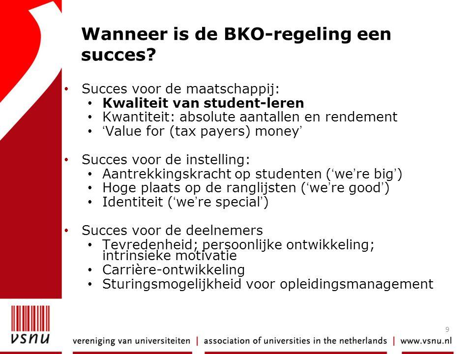 9 Wanneer is de BKO-regeling een succes? • Succes voor de maatschappij: • Kwaliteit van student-leren • Kwantiteit: absolute aantallen en rendement •