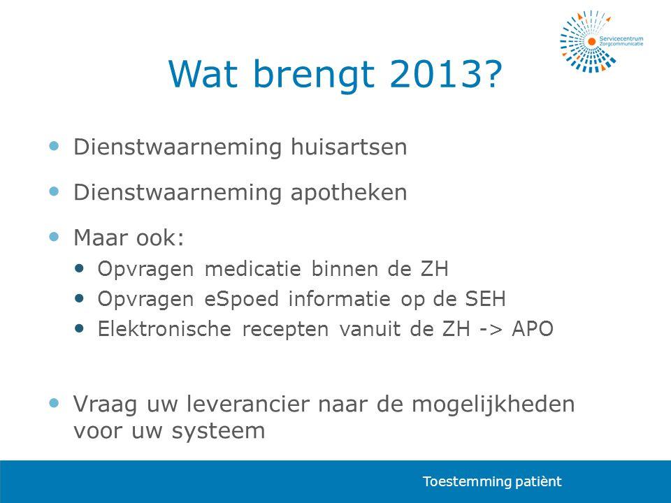 Wat brengt 2013?  Dienstwaarneming huisartsen  Dienstwaarneming apotheken  Maar ook:  Opvragen medicatie binnen de ZH  Opvragen eSpoed informatie