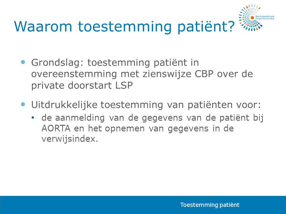  Grondslag: toestemming patiënt in overeenstemming met zienswijze CBP over de private doorstart LSP  Uitdrukkelijke toestemming van patiënten voor: • de aanmelding van de gegevens van de patiënt bij AORTA en het opnemen van gegevens in de verwijsindex.